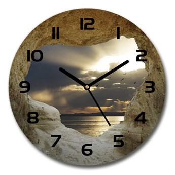 Zegar szklany na ścianę Nadmorska jaskinia