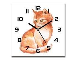 Zegar ścienny szklany kwadratowy Rudy kot
