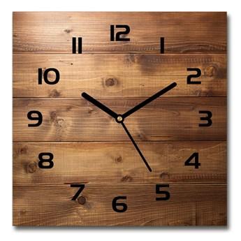 Zegar szklany kwadratowy Drewniane tło