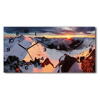 Nowoczesny zegar ścienny szklany Góry zimą