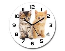 Zegar szklany okrągły Brązowy i rudy kot