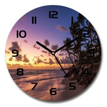 Zegar szklany okrągły Zachód na plaży