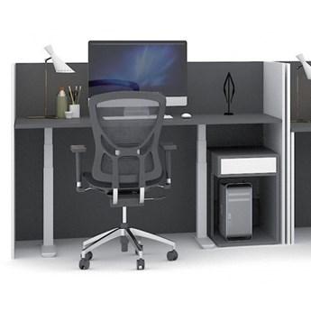 Stół warsztatowy z regulacją wysokości i ekranami, biały/grafit