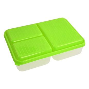 TRIOBOX 3in1, pojemnik na żywność zielony, 300 + 300 + 700 ml