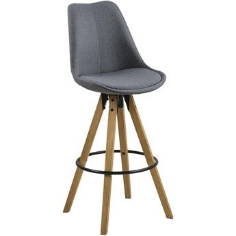 Tapicerowany hoker na drewnianych nogach Repo Melange Wood light grey