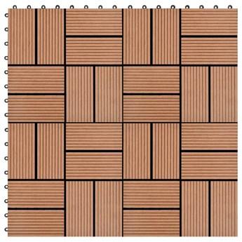 VidaXL Płytki tarasowe, 11 szt., WPC, 30 x 30 cm, 1 m², brązowe