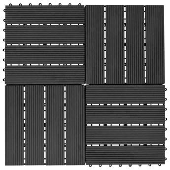 VidaXL Płytki tarasowe, 11 szt., WPC, 30 x 30 cm, 1 m², czarne