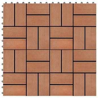 VidaXL Płytki tarasowe, 11 szt., WPC, 30 x 30 cm, 1 m², kolor tekowy