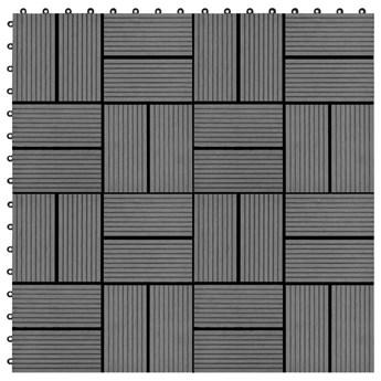 VidaXL Płytki tarasowe, 11 szt., WPC, 30 x 30 cm, 1 m², szare