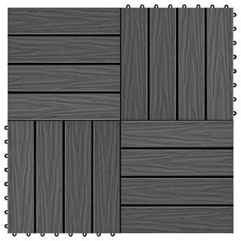 VidaXL Płytki tarasowe tłoczone, WPC, 11 szt., 30x30 cm, 1 m², czarne
