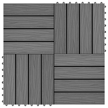 VidaXL Płytki tarasowe tłoczone, WPC, 11 szt., 30x30 cm, 1 m², szare