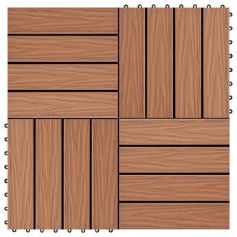 VidaXL Płytki tarasowe tłoczone, WPC, 11 szt, 30x30cm, 1m², jasny brąz