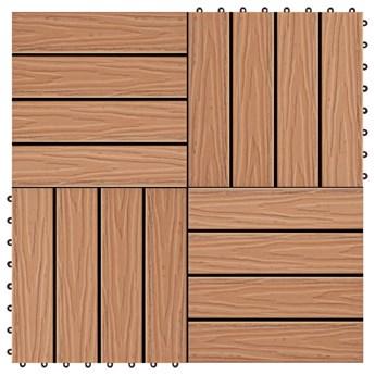 VidaXL Płytki tarasowe tłoczone, WPC, 11 szt., 30x30cm, 1m², kolor tek