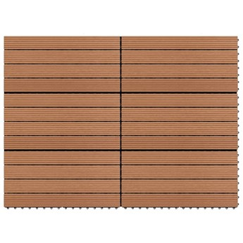 VidaXL Płytki tarasowe z WPC, 60x30 cm, 6 szt., 1 m², brązowe