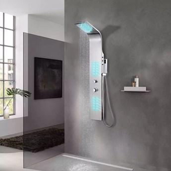VidaXL Panel prysznicowy ze stali nierdzewnej, zakrzywiony