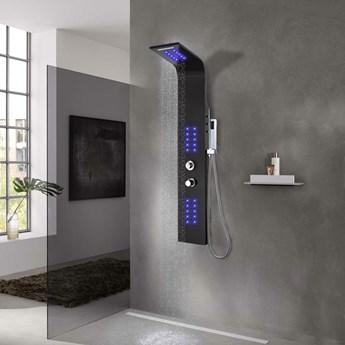 VidaXL Panel prysznicowy, aluminiowy, czarny, 20x44x130 cm