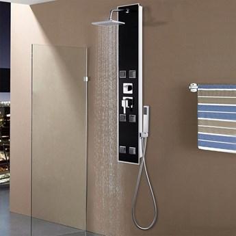 VidaXL Panel prysznicowy, szkło, 18 x 42,1 x 120 cm, czarny