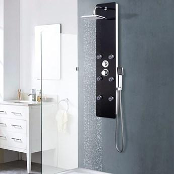 VidaXL Panel prysznicowy, szkło, 25 x 44,6 x 130 cm, czarny