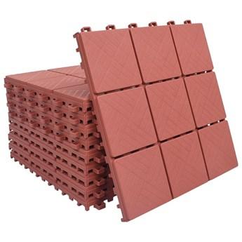 VidaXL Płytki tarasowe, 10 szt., czerwone, 30,5x30,5 cm, plastikowe