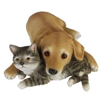 Esschert Design Figurka leżącego kota i psa, 30,5x40,8x12,5 cm