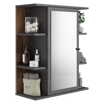 FMD Szafka łazienkowa z lustrem, matera i postarzane ciemne drewno