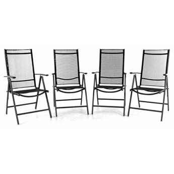 Krzesło ogrodowe składane 4szt., leżak regulowany na taras