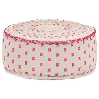 VidaXL Puf, okrągły, bawełna z haftem, 60x25 cm, kolorowy