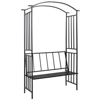 VidaXL Pergola ogrodowa z ławką, czarna, 128x50x207 cm, żelazna