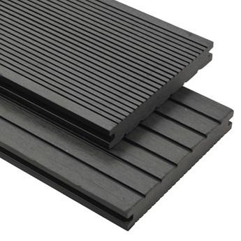 VidaXL Deski tarasowe z litego WPC z akcesoriami, 10 m², 2,2 m, szare