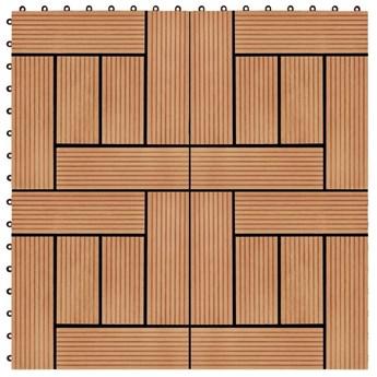 VidaXL Płytki tarasowe, 22 szt., 30 x 30 cm, 2 m², WPC, kolor tekowy