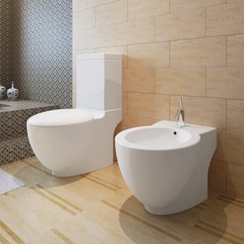 VidaXL Toaleta stojąca z bidetem, biała, ceramiczna