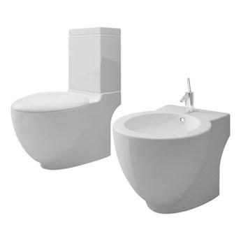 VidaXL Toaleta ceramiczna z bidetem, biała