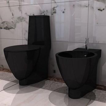 VidaXL Toaleta ceramiczna z bidetem, czarna