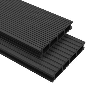 VidaXL Deski tarasowe WPC z akcesoriami, 16 m²; 2.2 m, antracytowe