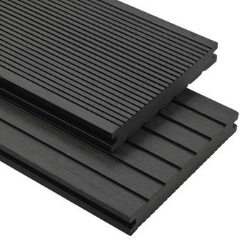 VidaXL Deski tarasowe z litego WPC z akcesoriami, 16 m², 2,2 m, czarne