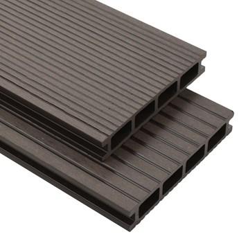 VidaXL Deski tarasowe z WPC, wydrążone, 20 m², 2,2 m, ciemnobrązowe
