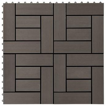 VidaXL Płytki tarasowe, 22 szt., 30 x 30 cm, 2 m², WPC, ciemnobrązowe