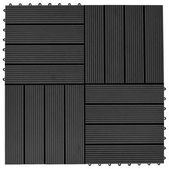 VidaXL Płytki tarasowe, 22 szt., 30 x 30 cm, 2 m², WPC, czarne
