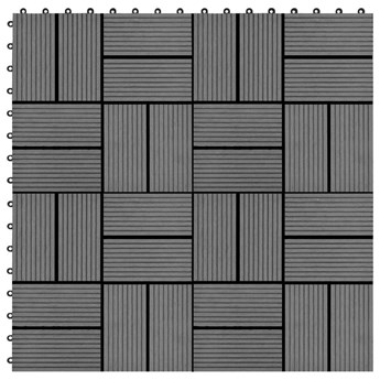 VidaXL Płytki tarasowe, 22 szt., 30 x 30 cm, 2 m², WPC, szare