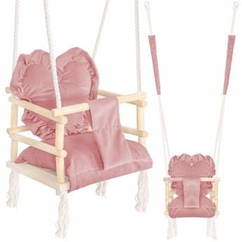 Huśtawka dla dzieci z oparciem i poduszką serce różowa