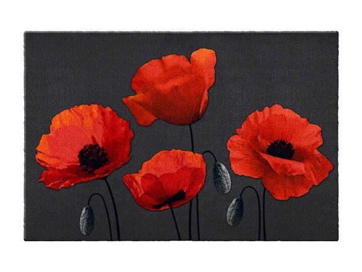 Wycieraczka z kwiatowym motywem | bonprix Kolor Czarny Tworzywo sztuczne Kategoria Wycieraczki