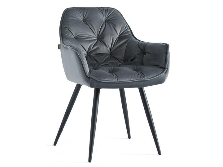 KRZESŁO TAPICEROWANE DC-9220 JASNY SZARY WELUR #10 Kategoria Krzesła kuchenne Tkanina Metal Styl Nowoczesny