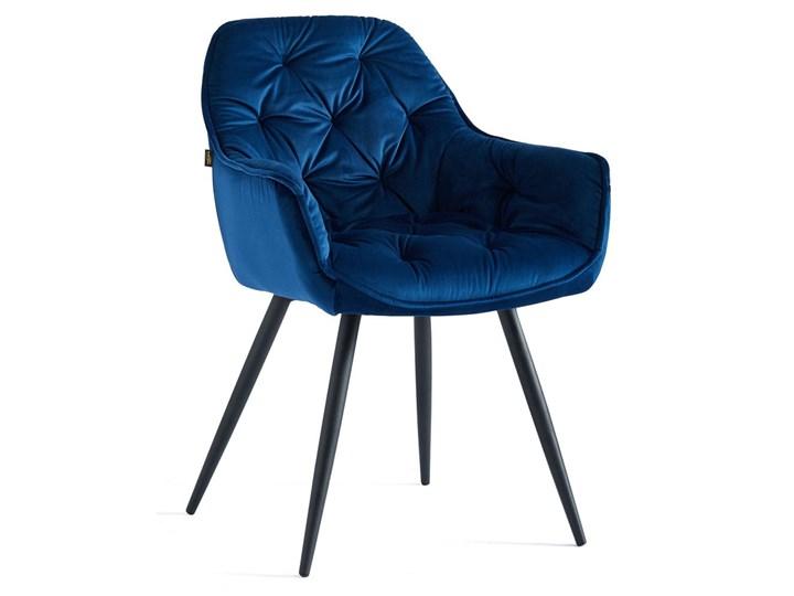 KRZESŁO TAPICEROWANE DC-9220 NIEBIESKI WELUR #39, NOGI CZARNE Tkanina Tworzywo sztuczne Metal Kategoria Krzesła kuchenne