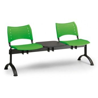 Ławka do poczekalni plastikowa VISIO, 2 siedzenia + stołek, zielony, czarne nogi