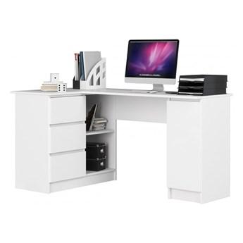 Białe biurko narożne lewostronne z szufladami