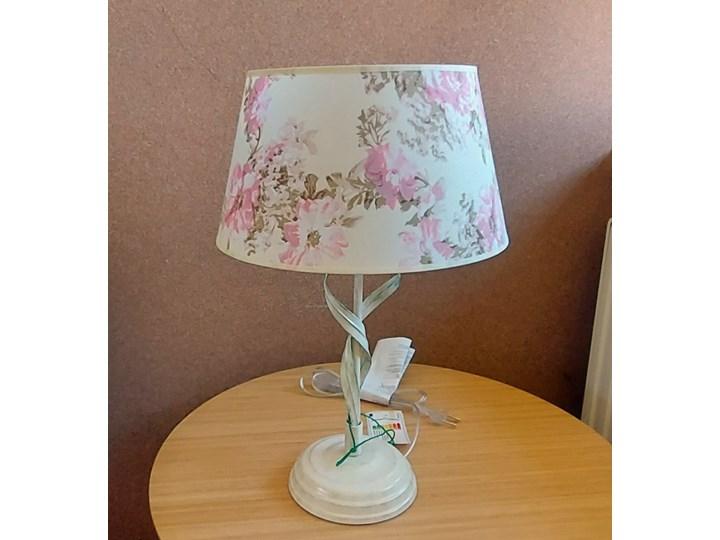 ALEKSIS lampka nocna biała z abażurem w kwiaty (szeroki abażur)