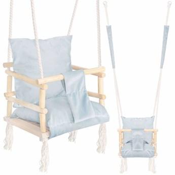 Huśtawka dla dzieci z oparciem i poduszką pudrowa mięta