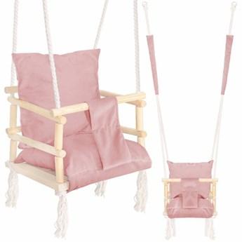 Huśtawka dla dzieci z oparciem i poduszką różowa