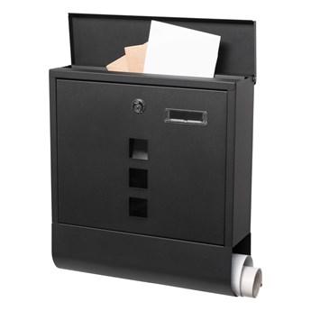 Skrzynka na listy pocztowa 33,5x30,5x9,5cm nowoczesna z gazetnikiem i okienkiem czarny mat