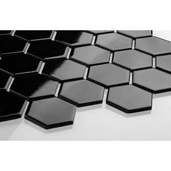 Płytka Heksagon Duży Czarny Szkliwiony